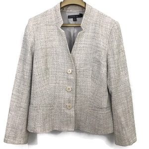 Lafayette 148 Heather Tweed Lined Blazer Tweed